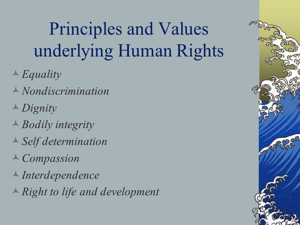 Principles and Values underlying Human Rights