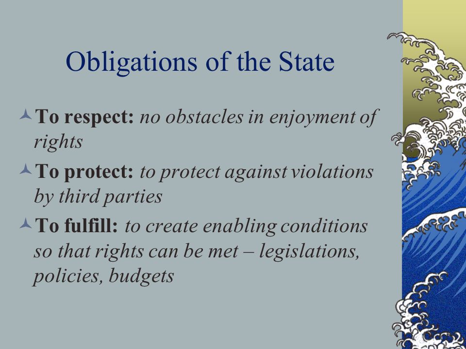 Obligations of the State
