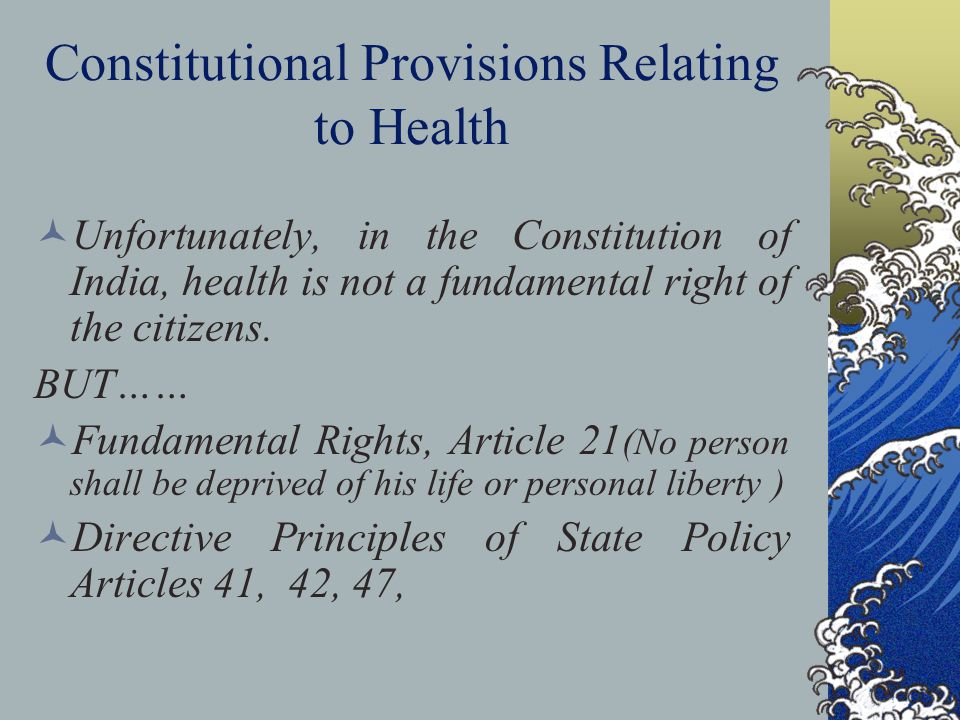 Constitutional Provisions Relating to Health