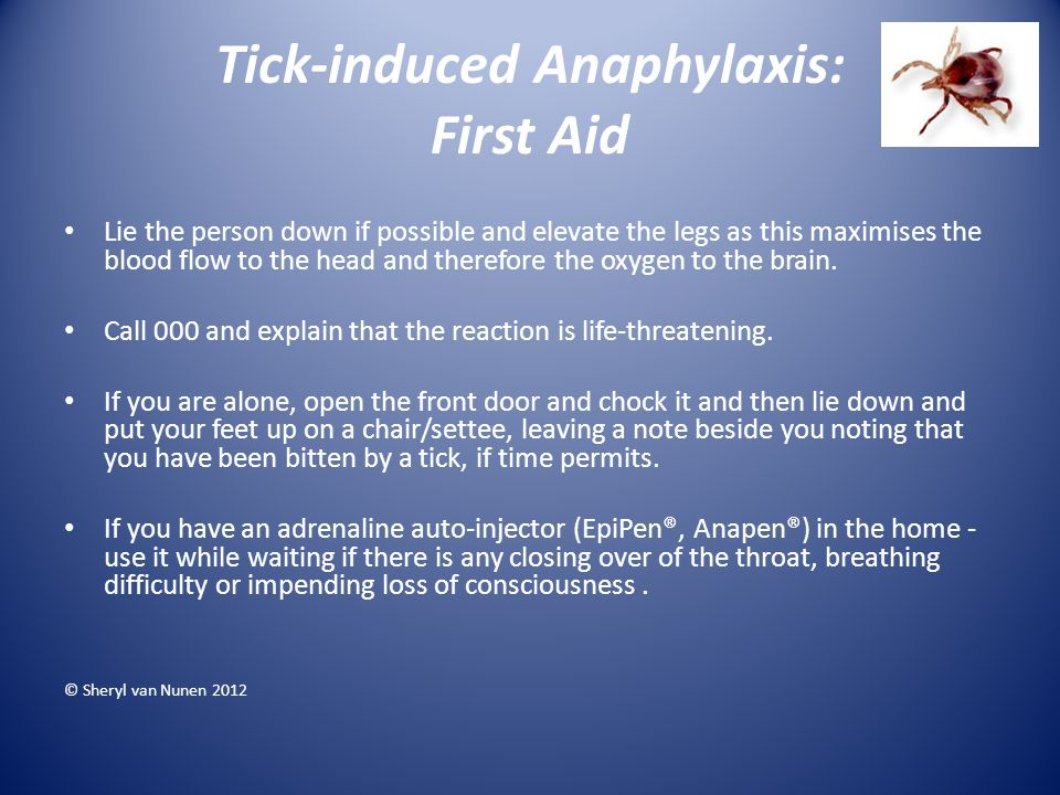 Tick-induced Anaphylaxis: First Aid