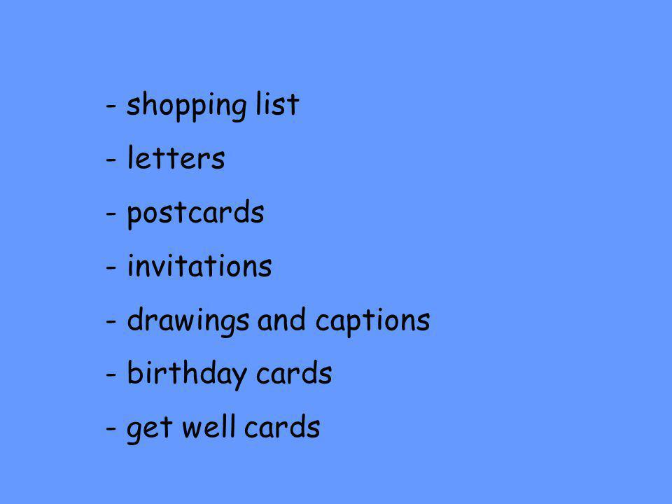 shopping list letters postcards invitations drawings and captions birthday cards get well cards