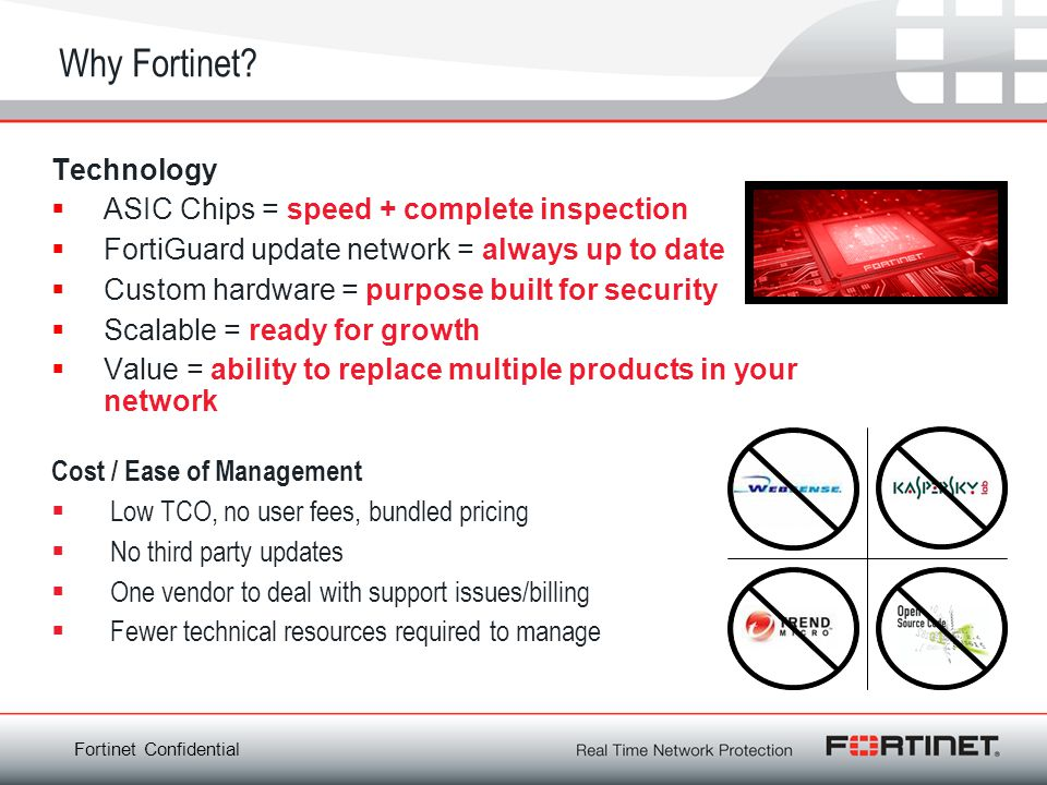 Why Fortinet Technology ASIC Chips = speed + complete inspection