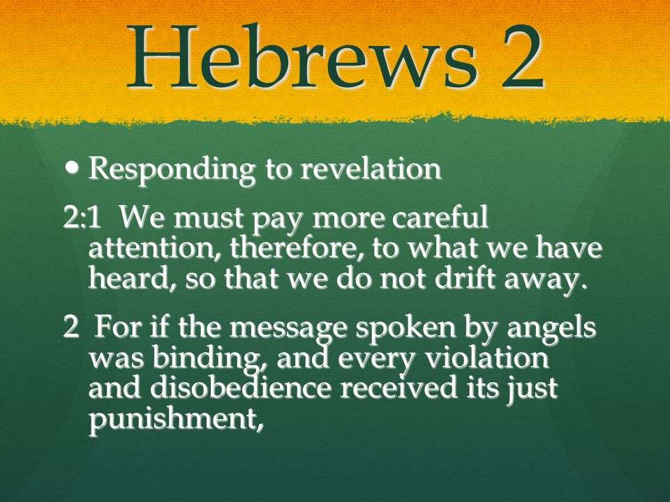 Hebrews 2 Responding to revelation