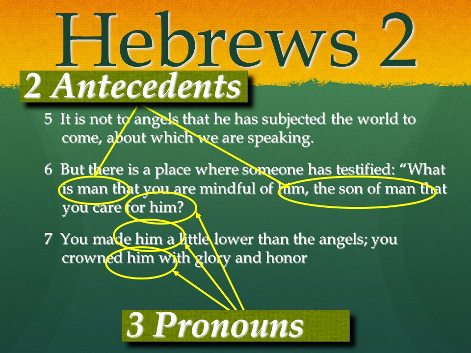 Hebrews 2 2 Antecedents 3 Pronouns