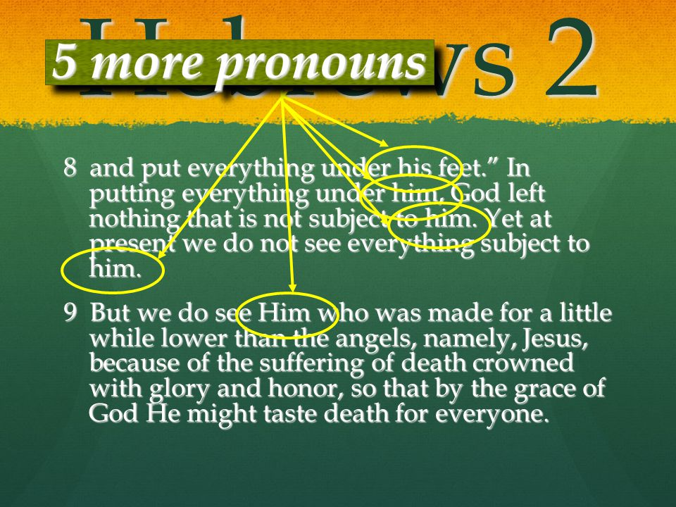 Hebrews 2 5 more pronouns.