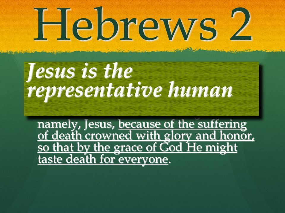 Hebrews 2 Jesus is the representative human