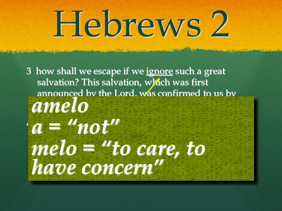 Hebrews 2 amelo a = not melo = to care, to have concern