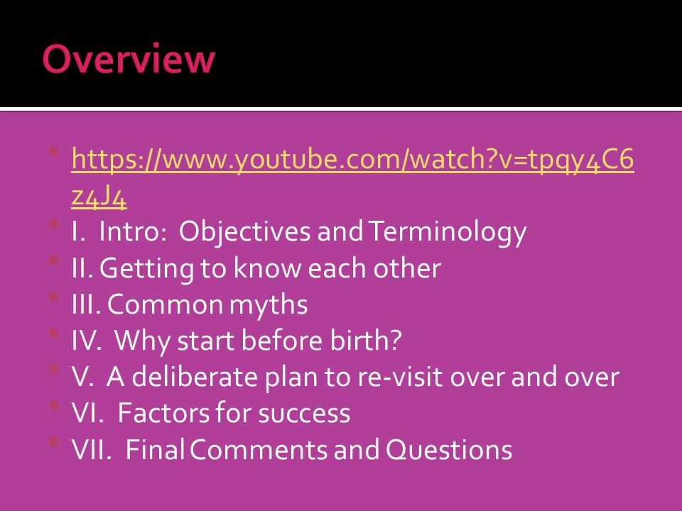 Overview https://www.youtube.com/watch v=tpqy4C6z4J4