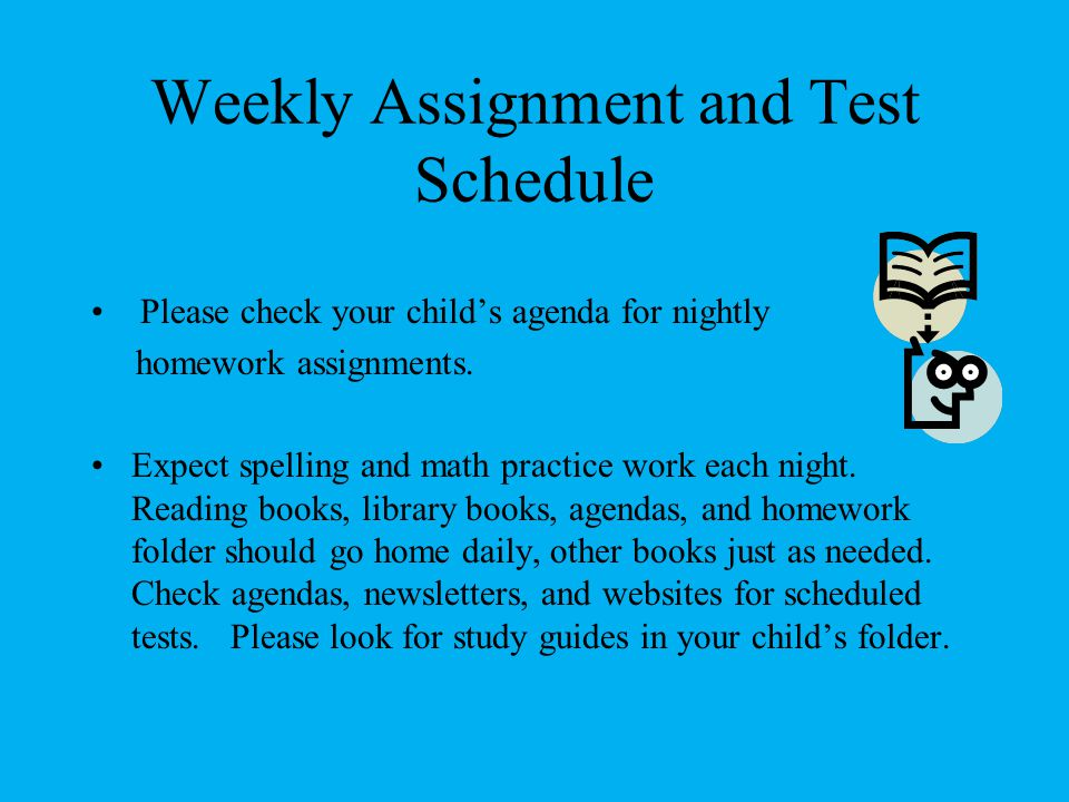 Weekly Assignment and Test Schedule