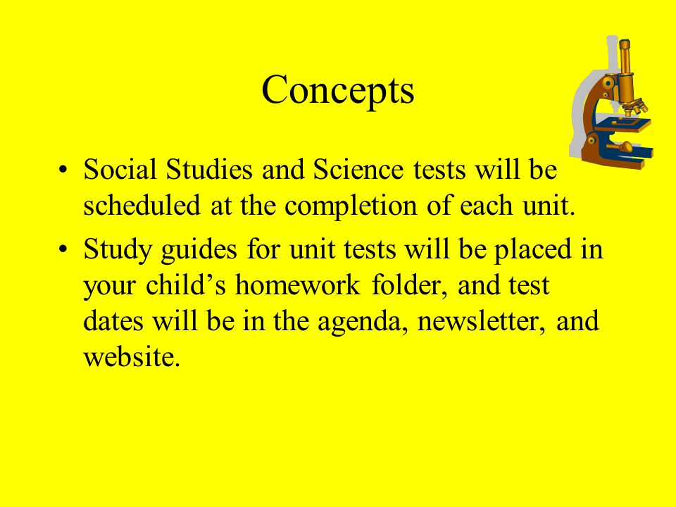 Concepts Social Studies and Science tests will be scheduled at the completion of each unit.