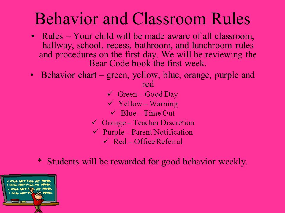 Behavior and Classroom Rules