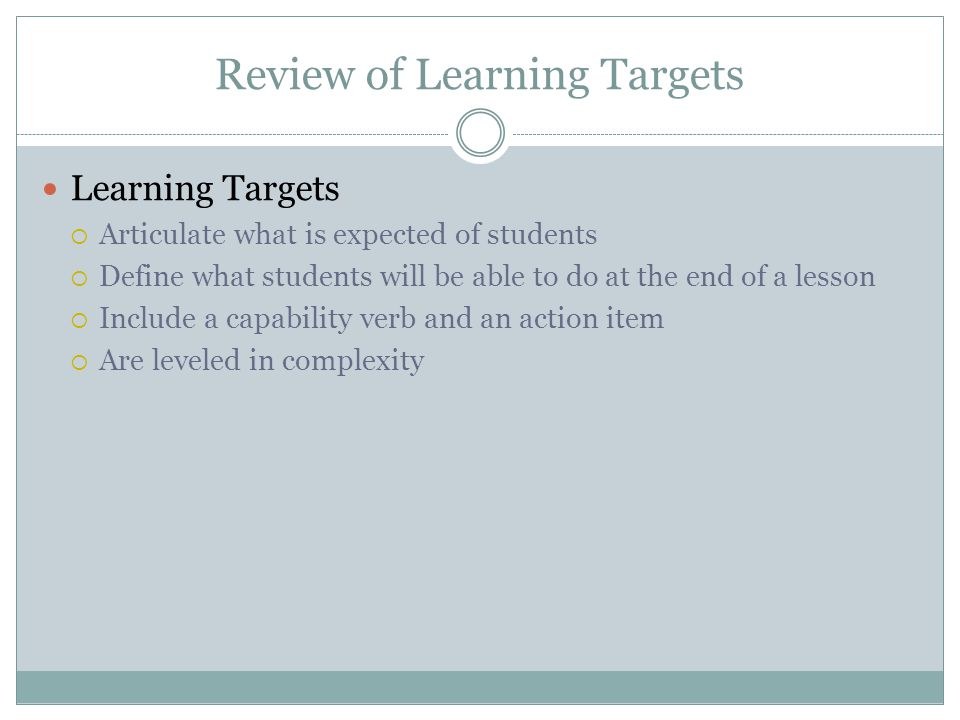 Review of Learning Targets