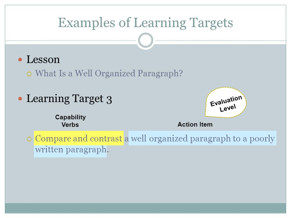 Examples of Learning Targets