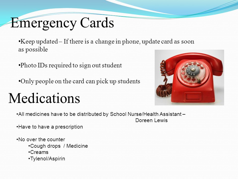 Emergency Cards Medications