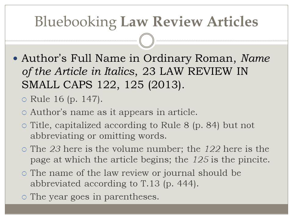 Bluebooking Law Review Articles