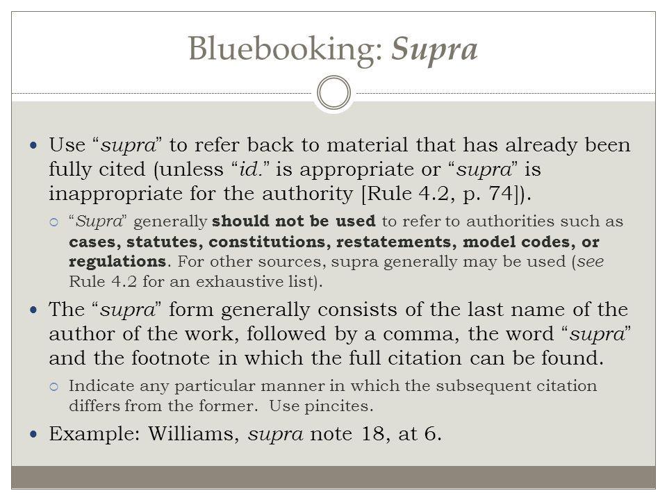 Bluebooking: Supra