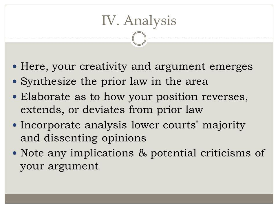 IV. Analysis Here, your creativity and argument emerges