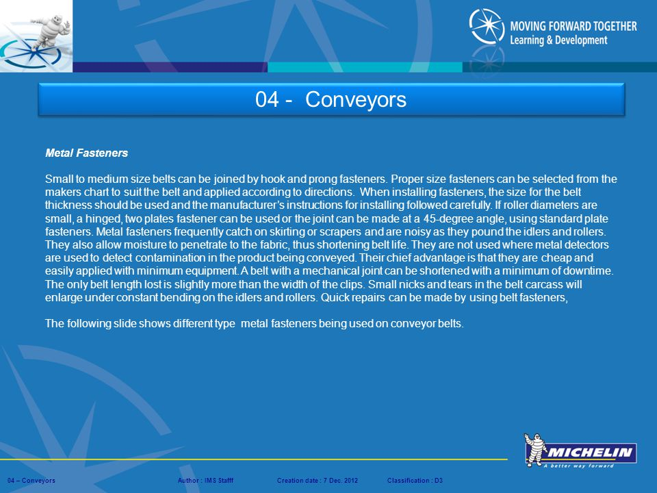 04 - Conveyors Metal Fasteners