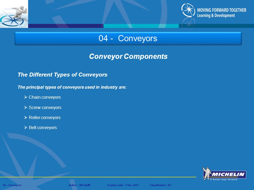 04 - Conveyors Conveyor Components The Different Types of Conveyors