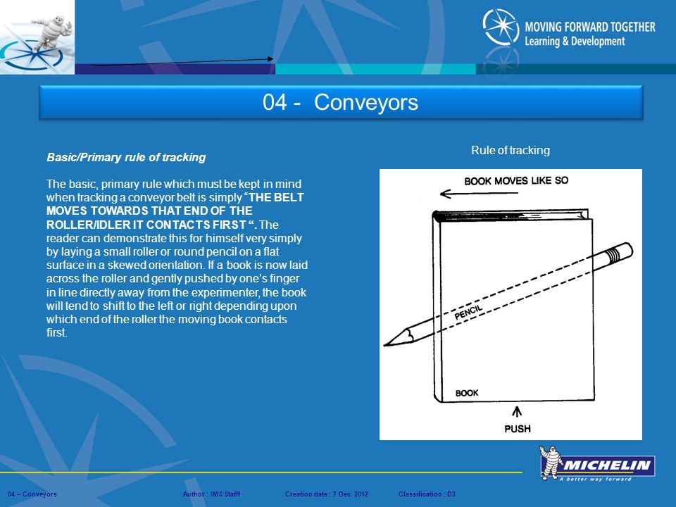04 - Conveyors Rule of tracking Basic/Primary rule of tracking