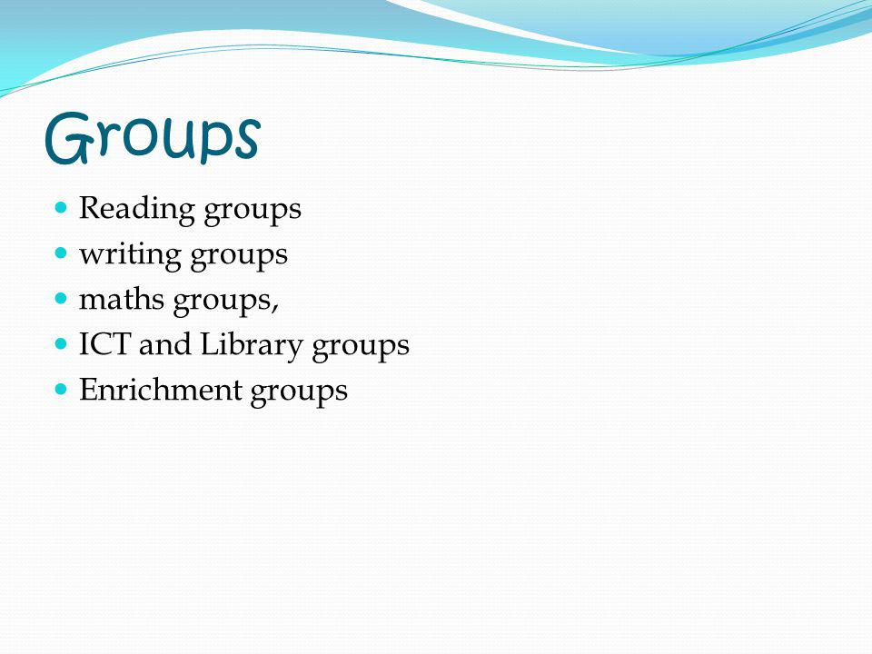 Groups Reading groups writing groups maths groups,