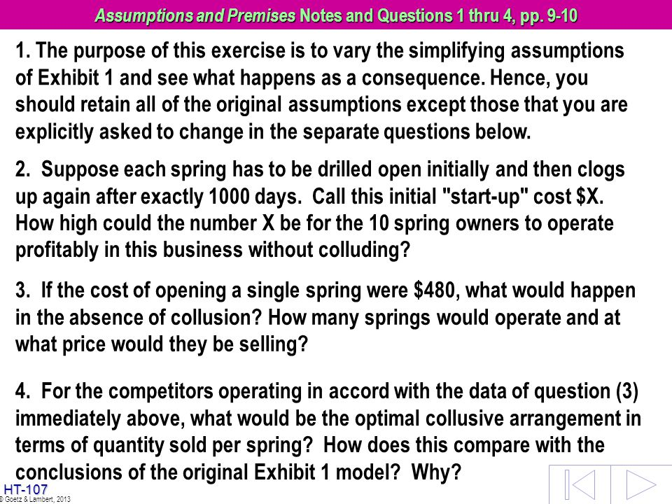 Assumptions and Premises Notes and Questions 1 thru 4, pp. 9-10