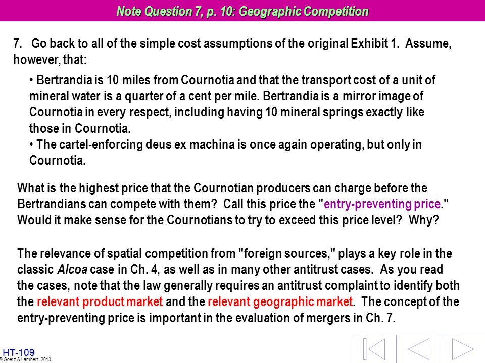Note Question 7, p. 10: Geographic Competition