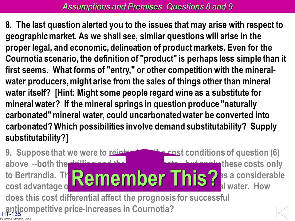 Assumptions and Premises Questions 8 and 9