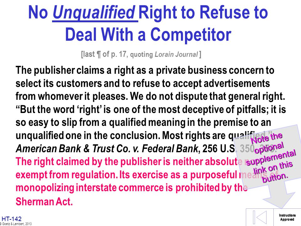 No Unqualified Right to Refuse to Deal With a Competitor