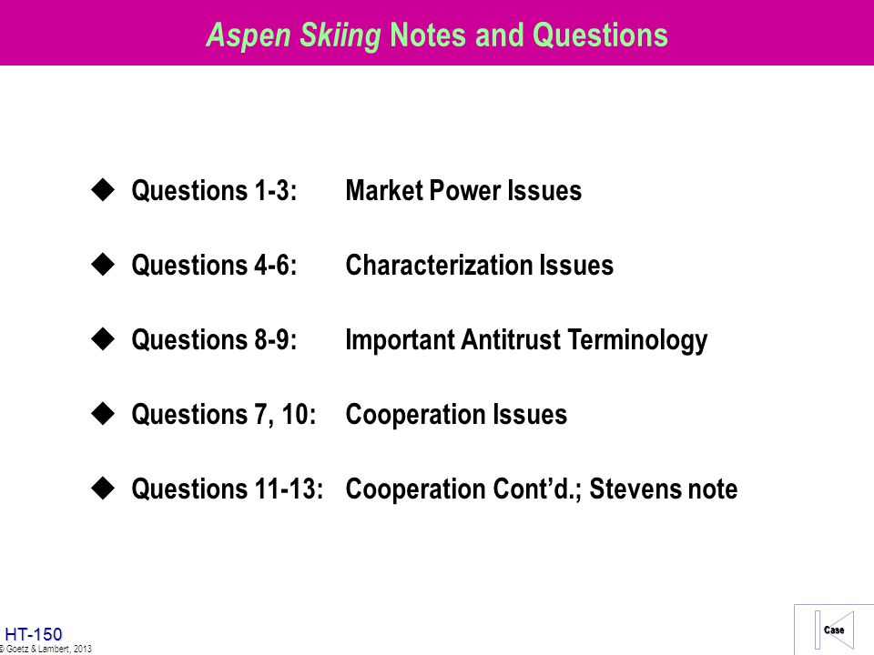 Aspen Skiing Notes and Questions