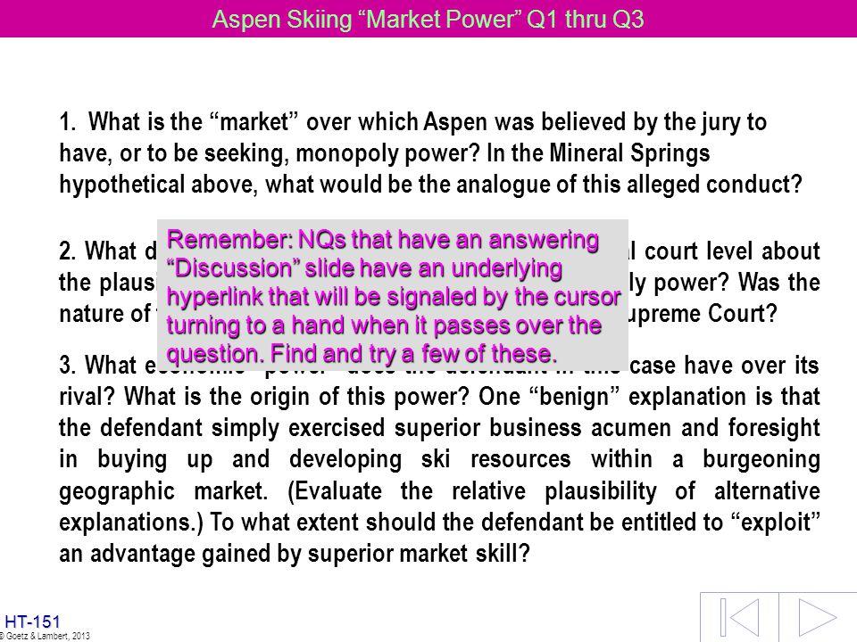 Aspen Skiing Market Power Q1 thru Q3