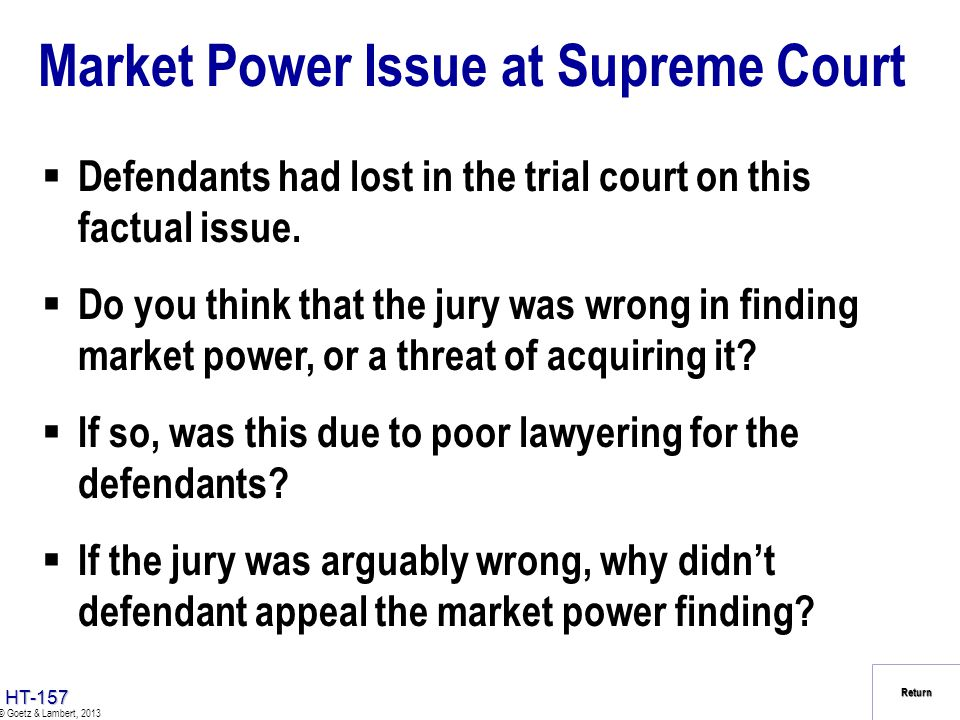 Market Power Issue at Supreme Court