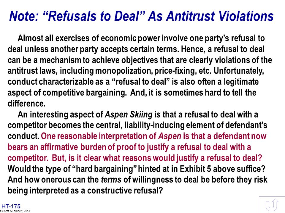Note: Refusals to Deal As Antitrust Violations