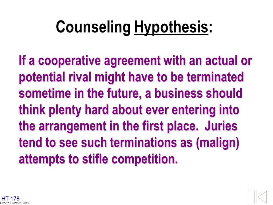 Counseling Hypothesis: