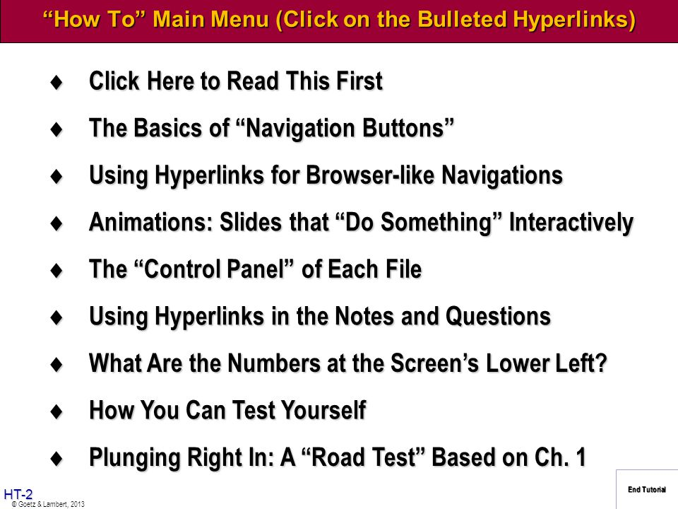 How To Main Menu (Click on the Bulleted Hyperlinks)