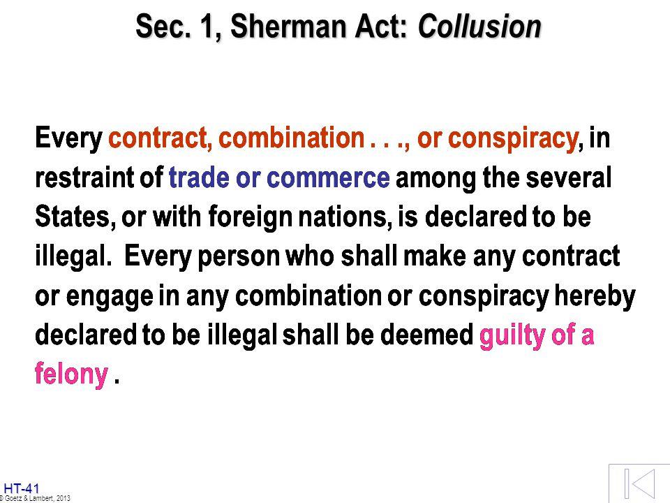 Sec. 1, Sherman Act: Collusion