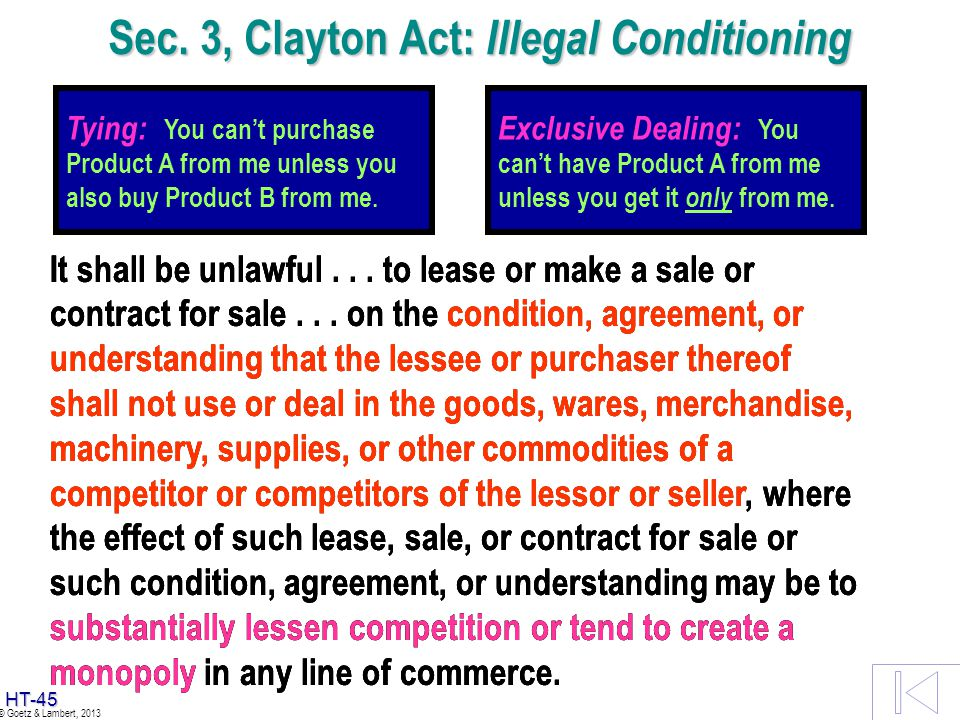 Sec. 3, Clayton Act: Illegal Conditioning