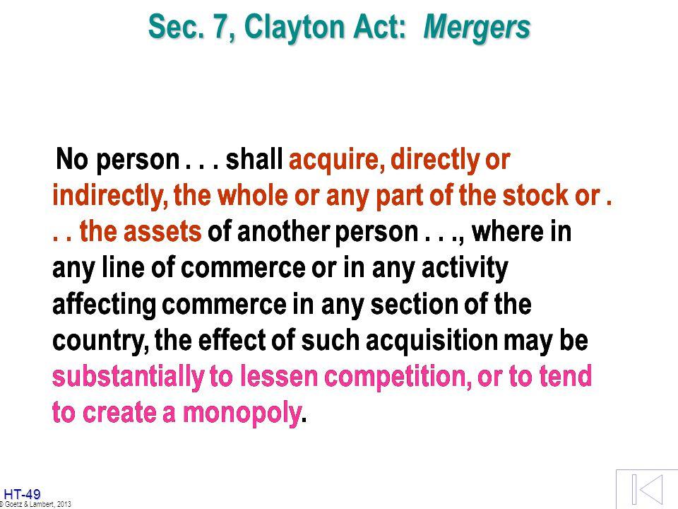 Sec. 7, Clayton Act: Mergers
