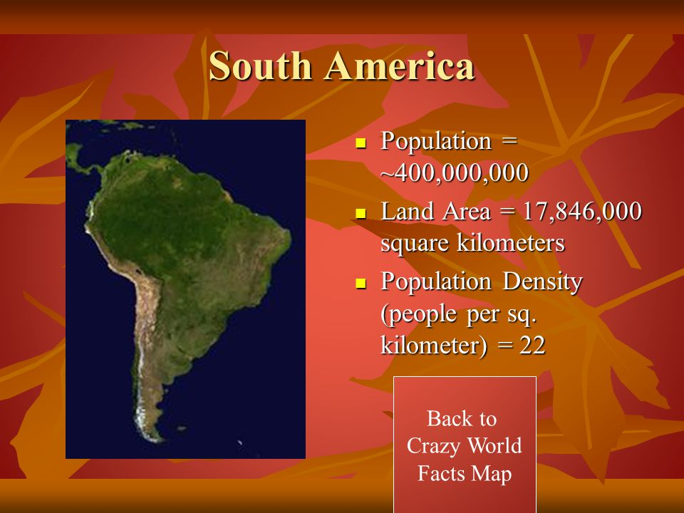 South America Population = ~400,000,000