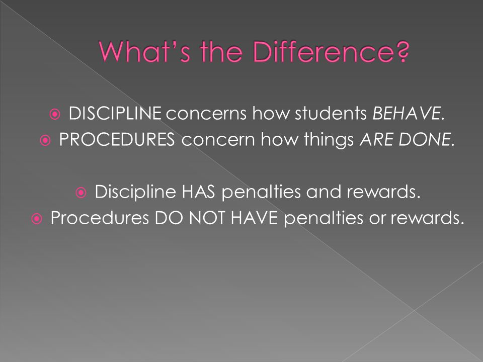 What's the Difference DISCIPLINE concerns how students BEHAVE.
