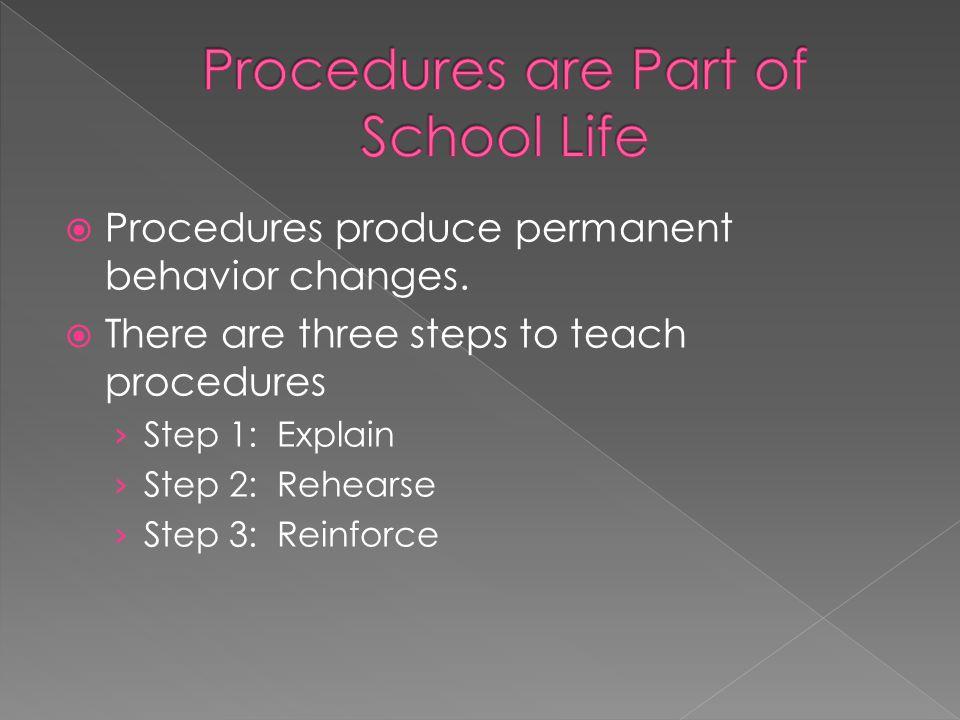 Procedures are Part of School Life