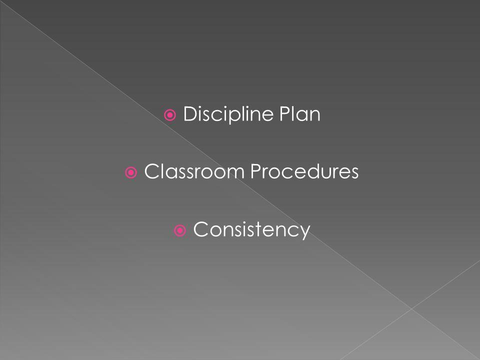 Discipline Plan Classroom Procedures Consistency