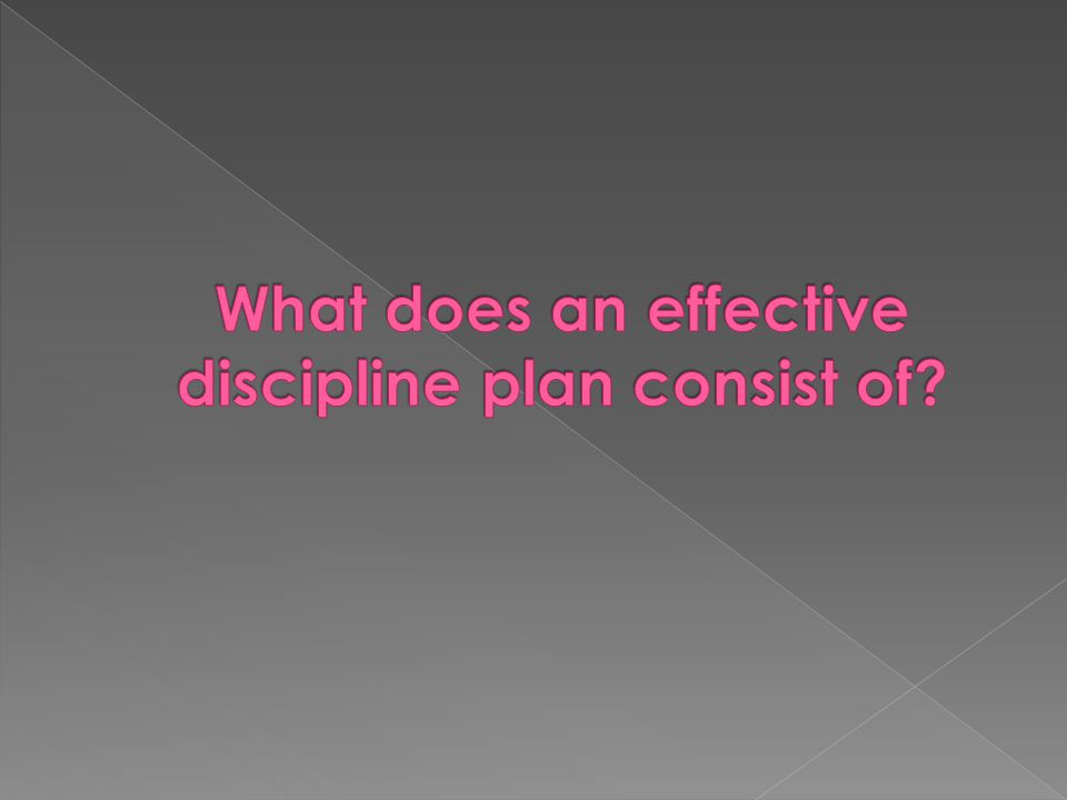 What does an effective discipline plan consist of