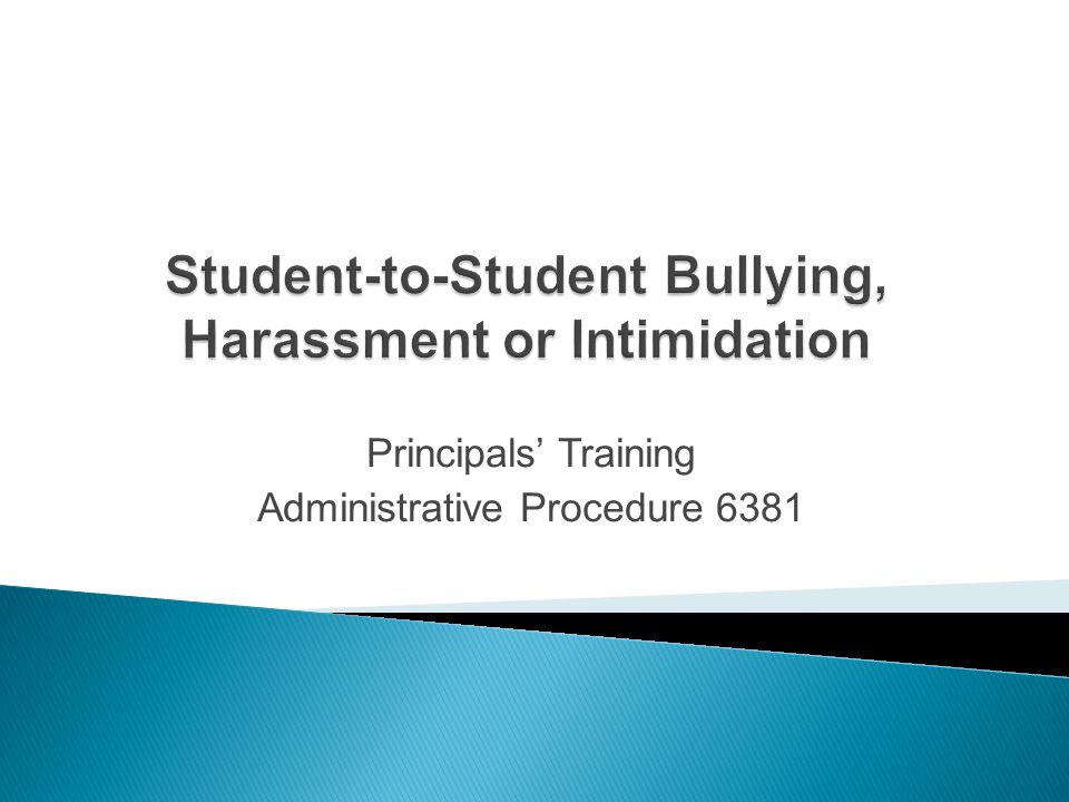 Student-to-Student Bullying, Harassment or Intimidation