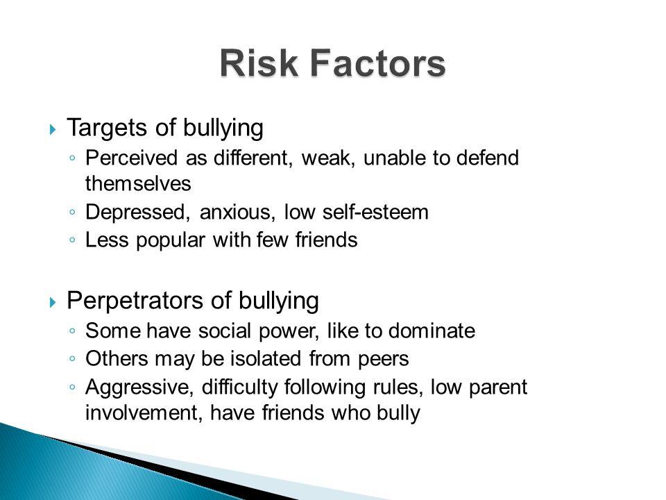 Risk Factors Targets of bullying Perpetrators of bullying