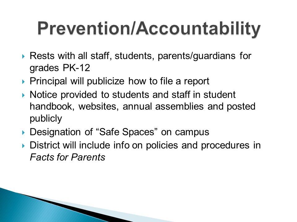 Prevention/Accountability