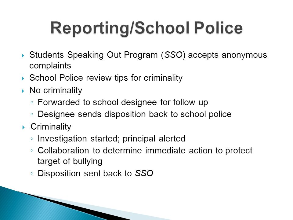 Reporting/School Police