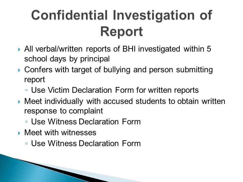 Confidential Investigation of Report