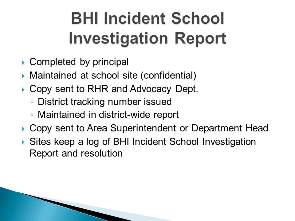 BHI Incident School Investigation Report