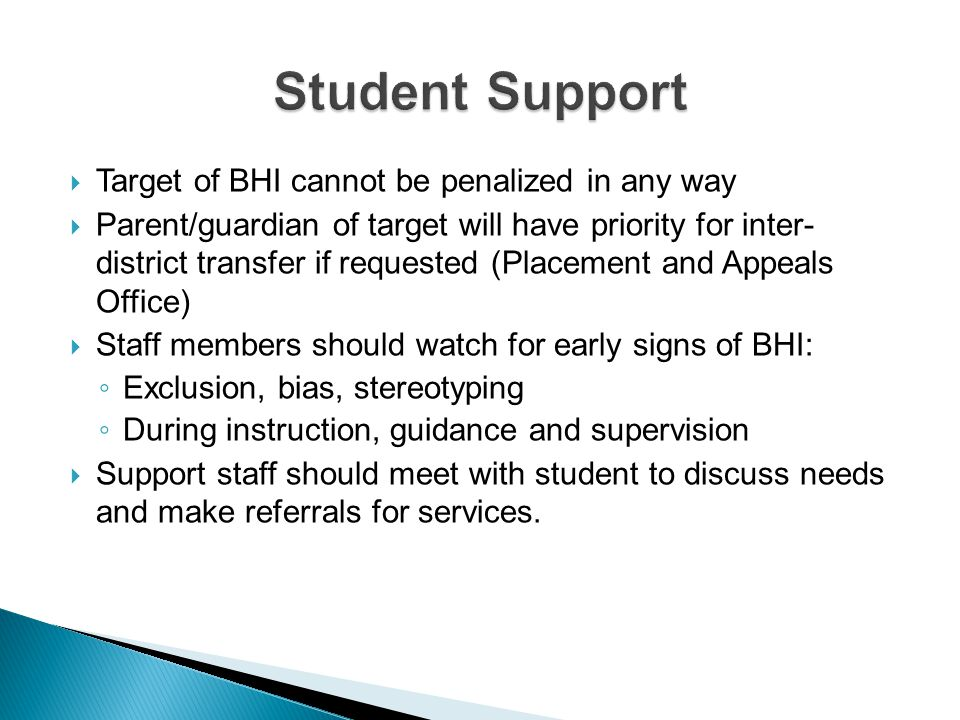 Student Support Target of BHI cannot be penalized in any way